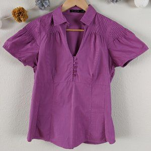 The Limited Button-Front Popover Blouse Small